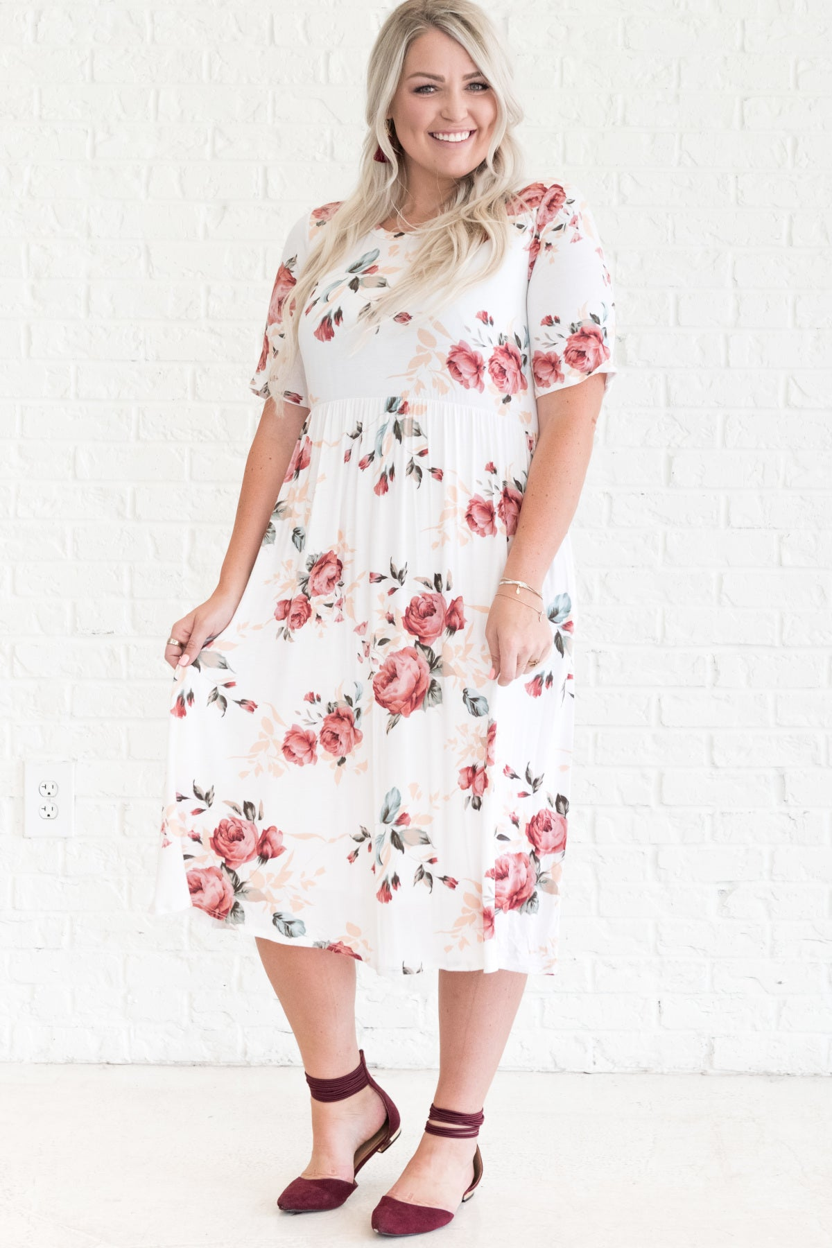 1f22c0e9f4da White Floral Midi Dress. White Flowy Midi Dress