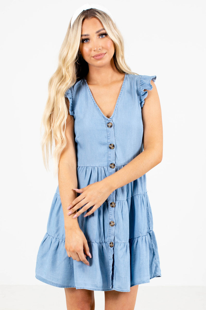 Ocean Breeze Mini Dress - Blue