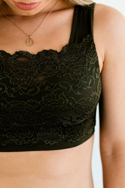 Olive Green Scallop Lace Overlay Floral Boutique Bralettes Affordable Online Boutique