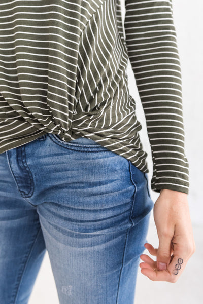 Olive Green White Striped Long Sleeve Asymmetrical Front Knot Tops