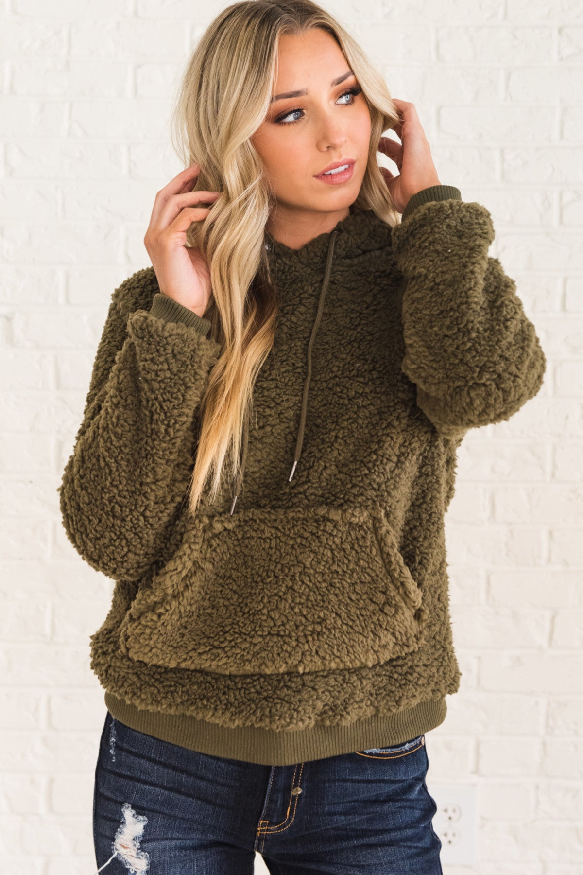 Olive Green Soft Cozy Warm Faux Fur Shearling Teddy Hoodie with Hood Drawstrings Kangaroo