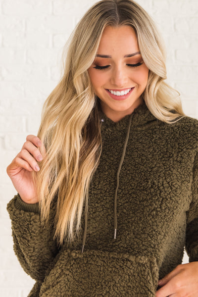 Olive Green Cute Boutique Teddy Hoodies with Soft Faux Fur Shearling
