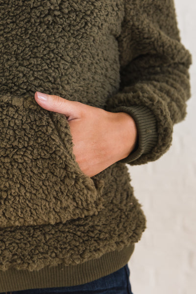 Olive Green Fluffy Soft Cozy Warm Winter Teddy Bear Outerwear Hoodies