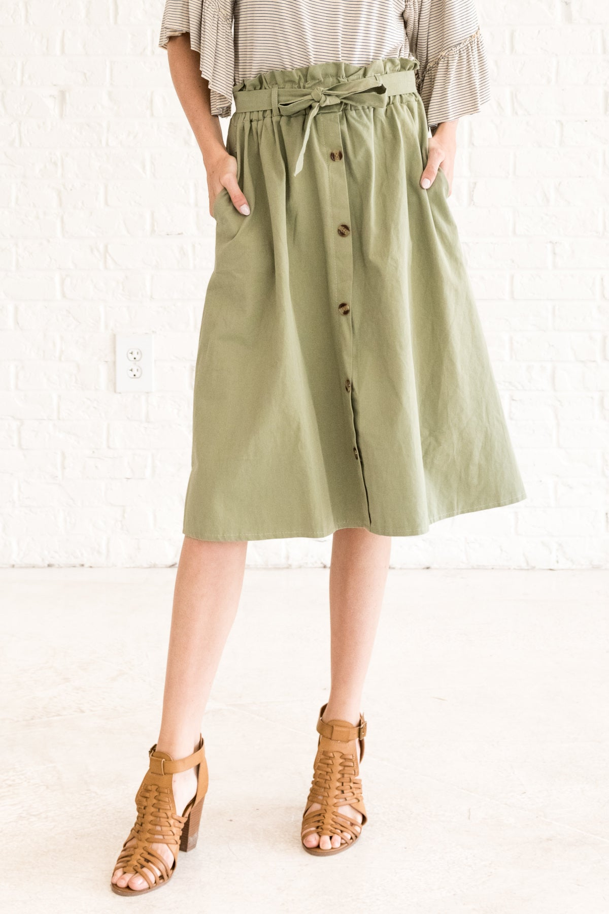 differently browse latest collections save off Girl Almighty Olive Midi Skirt