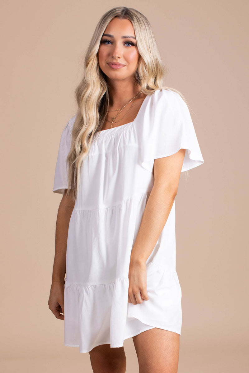 On An Adventure Tiered Mini Dress - White