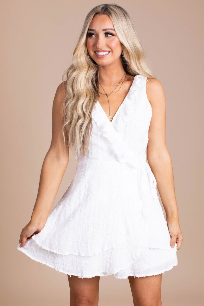 One More Dance Mini Wrap Dress - White