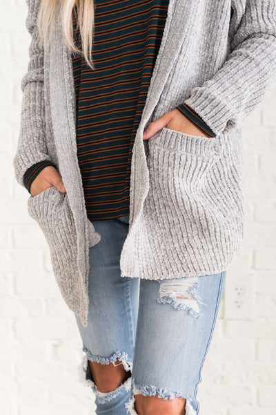 Gray Cute Chenille Cardigans Sweaters Fall Winter Christmas Boutique
