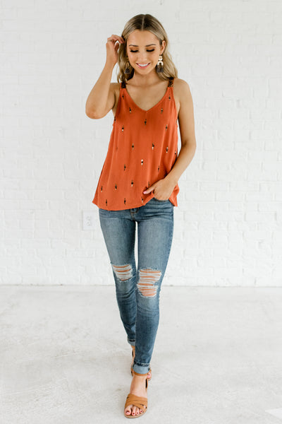3db3de6ec056e Burnt Orange Sequin Tank Tops Affordable Online Boutique Spring Summer  Fashion