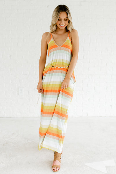 Orange Yellow Multi Colored Maxi Dresses with Pockets for Women