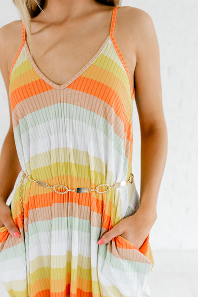 Orange Multi Colored Striped Pattern Tank Maxi Dresses with Pockets