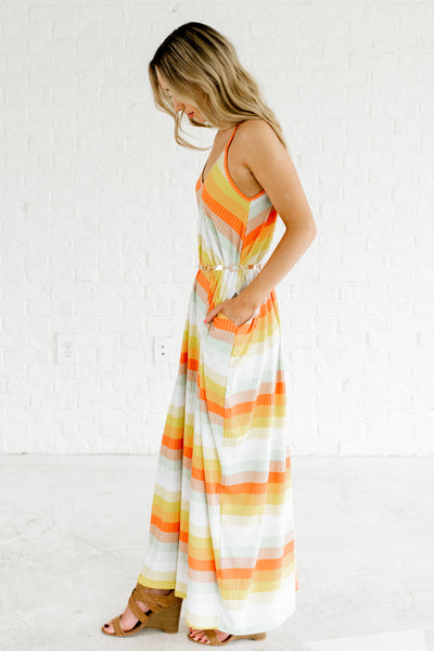 Orange Yellow Mint White Striped Tank Strap Maxi Dresses for Summer