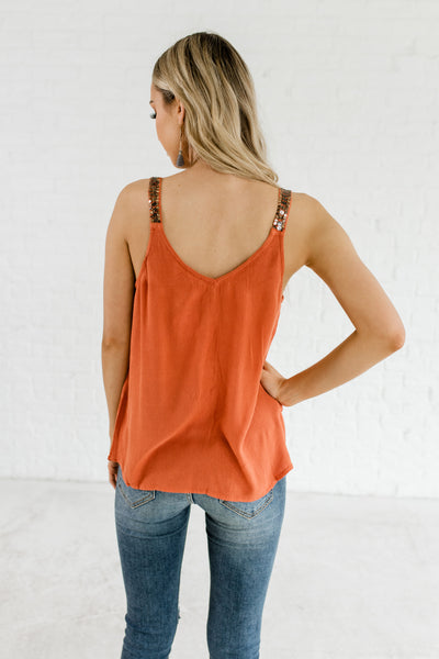 8bf05dce05307 Burnt Orange Rust Cute Affordable Online Boutique Tank Tops with Sequins