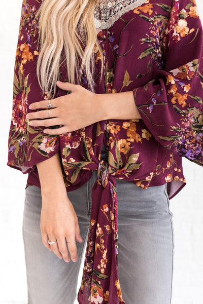 Wine Purple Peasant Top with Tie Front and Flowy Sleeves