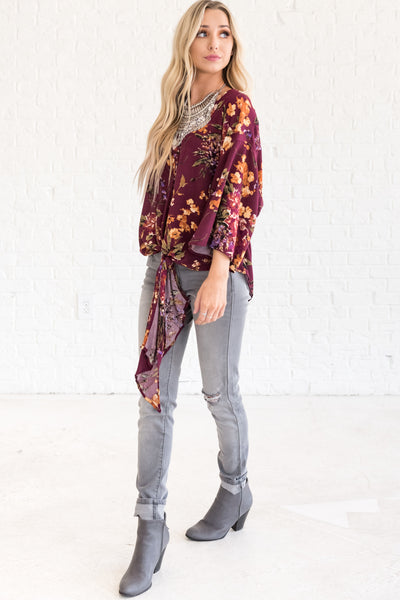 Wine Purple Fall and Winter Floral Tie Front Blouses for Going Out