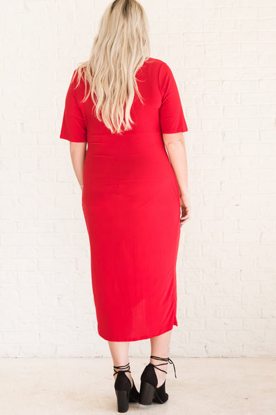 Red Pleated Wrap Midi Maxi Winter Dress in Curvy Plus Sizes