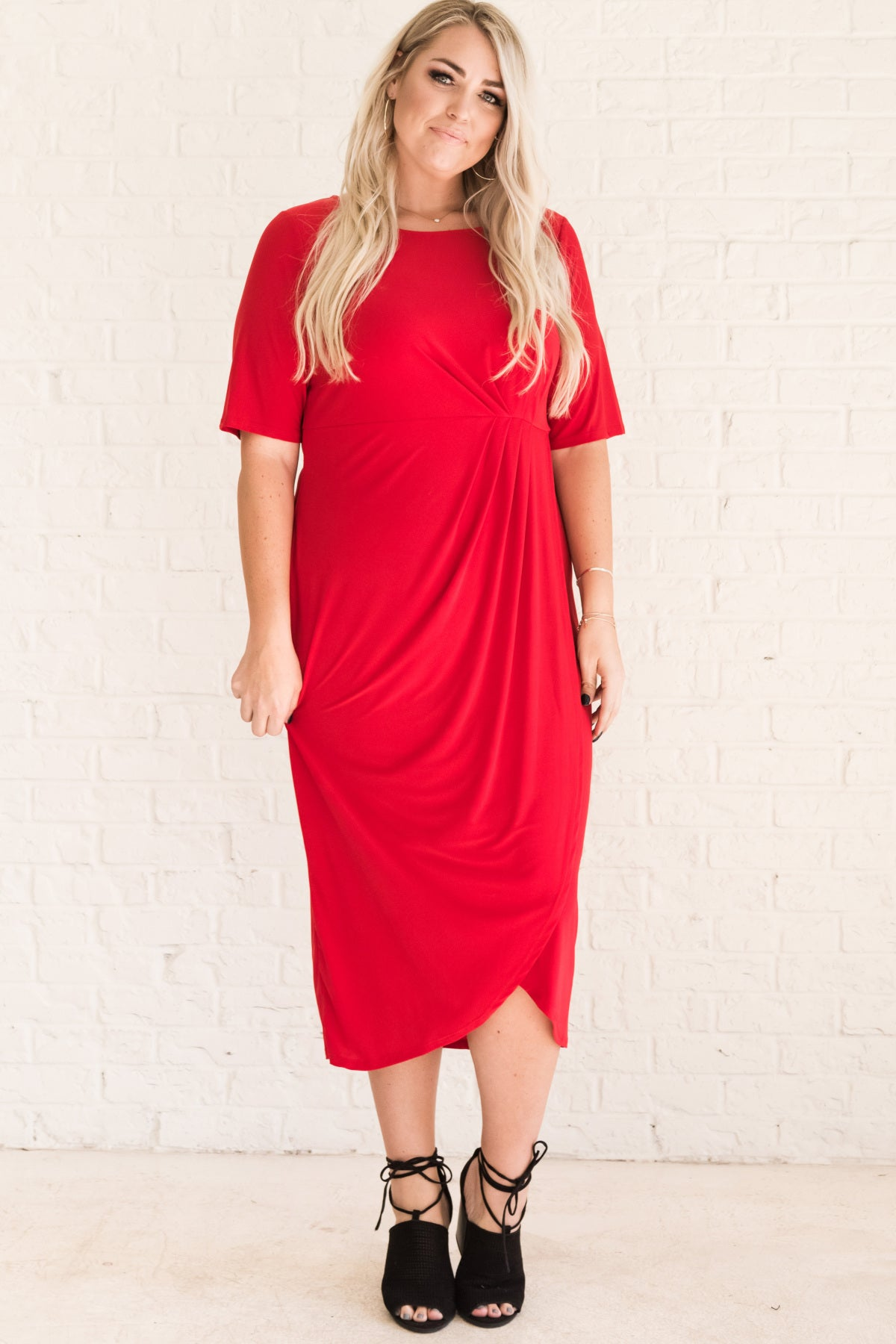 Red Long Wrap Plus Size Midi Winter Dresses for Office, Going Out, or Special Occasion