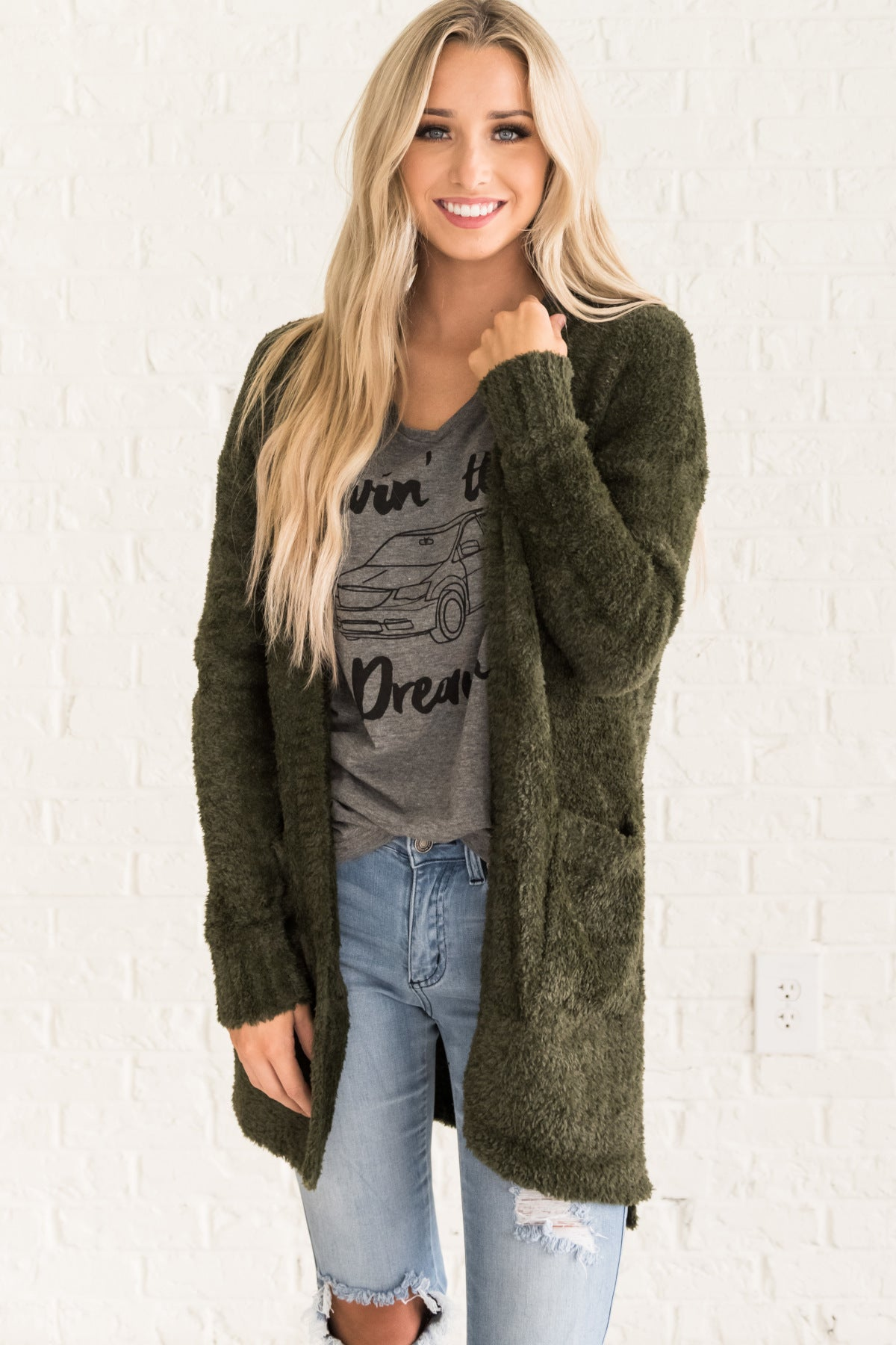Olive Green Fuzzy Soft Knit Cardigan Sweater with Pockets