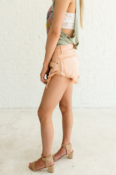 Faded Peach Pink Orange Frayed Hem Denim Short Shorts with Pockets and Cuffed Sides