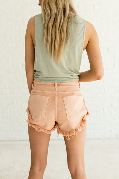 Peach Pink Faded Frayed Denim Short Shorts Real Pockets Affordable Online Boutique