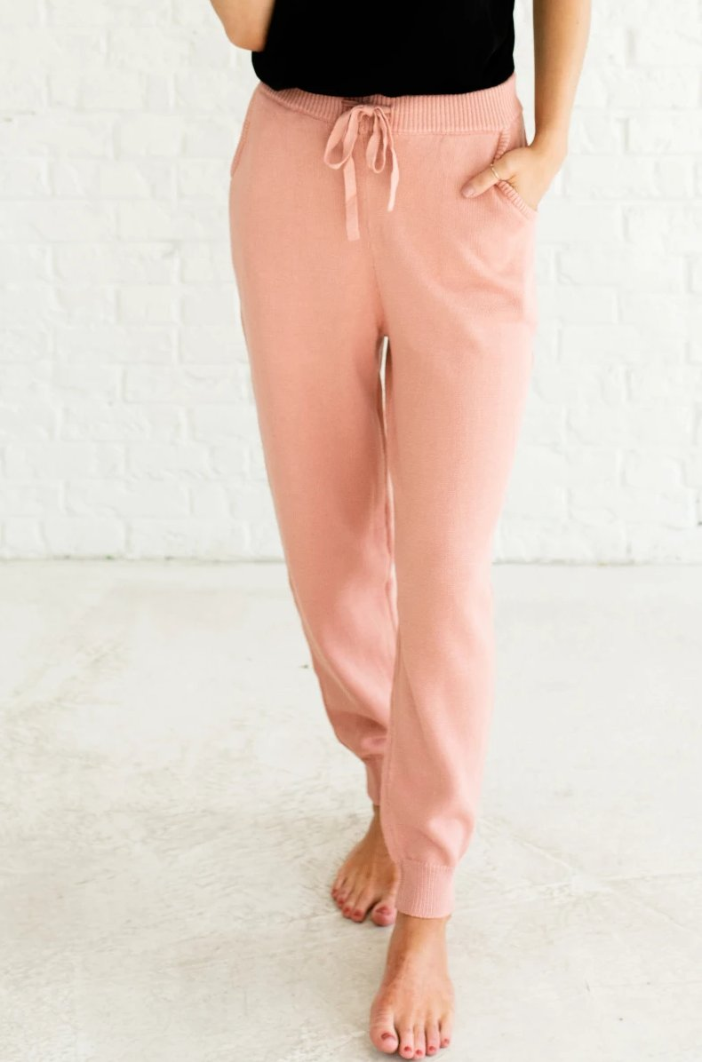 Pink Elastic Waistband Tie Pockets Cinched Ankle High Quality Knit Joggers for Women