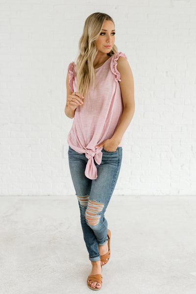 Pink Striped Cute Front Knot Ruffle Sleeve Keyhole Back Boutique Tops