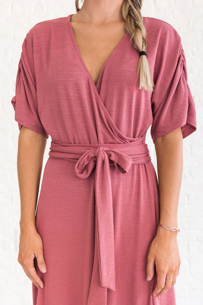 Pink Faux Wrap Midi Dress with V Neckline and Flowy Sleeves