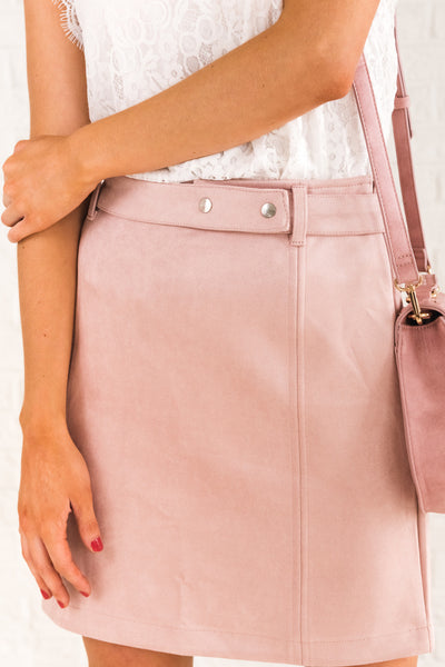 Blush Pink Faux Suede Belted Mini Skirts Affordable Online Boutique