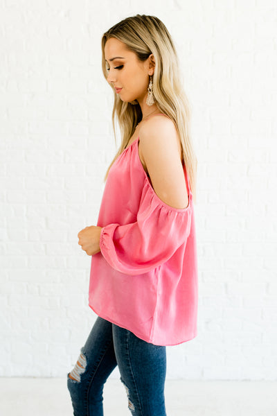 25a5d38ea001d Pink Glow Shiny Soft Satin Cold Shoulder Blouses with Bishop Sleeves