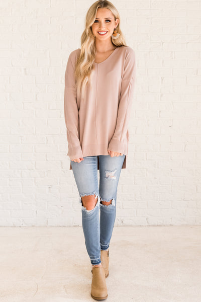 Blush Pink Pullover Soft Cute Sweaters from Affordable Online Boutique