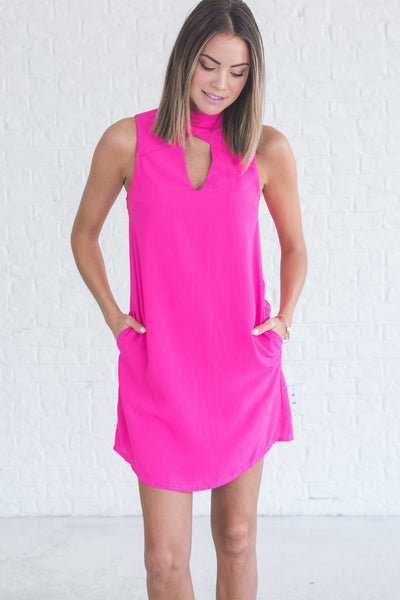 neon hot pink cute mini dresses with cutout details