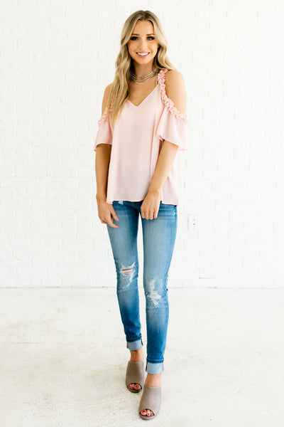 Blush Pink Romantic Cute Feminine Ruffled Cold Shoulder Tops and Blouses Boutique