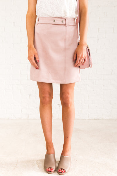 Blush Soft Light Pink Faux Suede Mini Skirts with Attached Detachable Belt