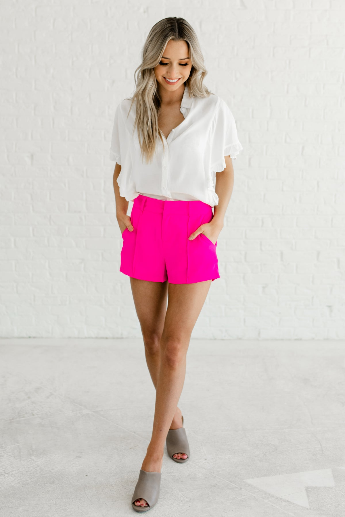 Hot Pink Pleated Short Shorts Cute Business Casual for Women Affordable Online Boutique