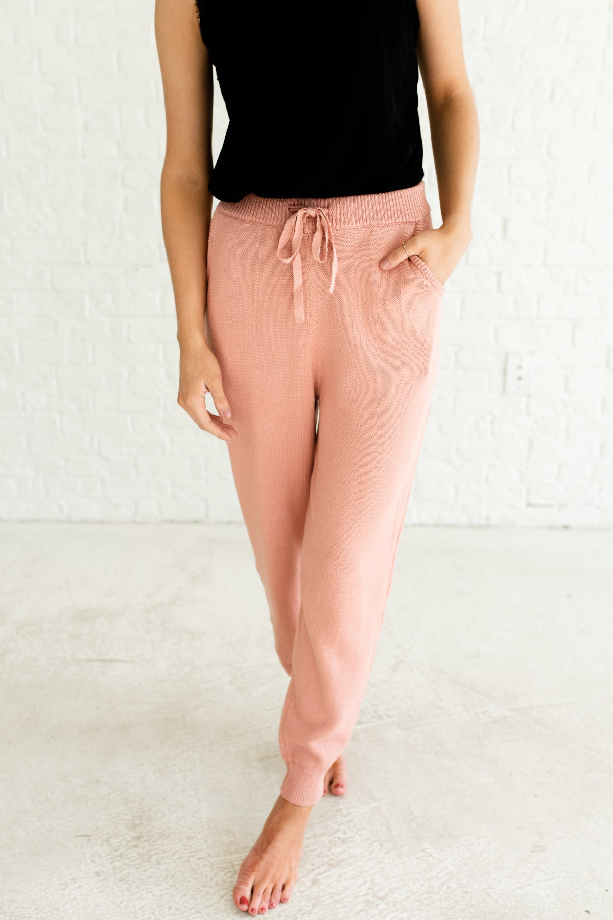 Pink Knit Knitwear Cute Boutique Sweatpants and Joggers with Pockets