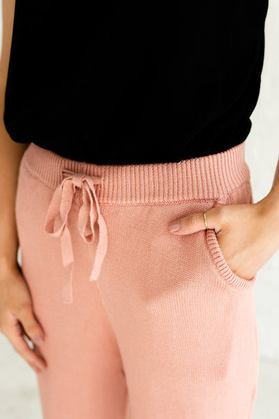 Pink Cute Affordable Online Boutique Knitwear Knit Joggers and Sweatpants for Women