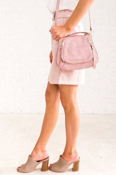 Blush Pink Rose Faux Suede Belted Mini Skirts Affordable Online Boutique Fashion for Women