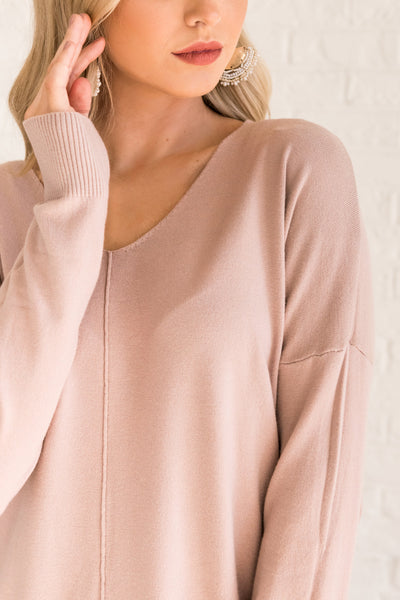 Blush Rose Pink Cute Sweaters for Women Cozy Warm