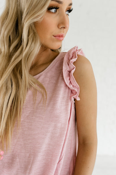 Pink Striped Pattern Front Knot Ruffle Sleeve Cute Tops Boutique