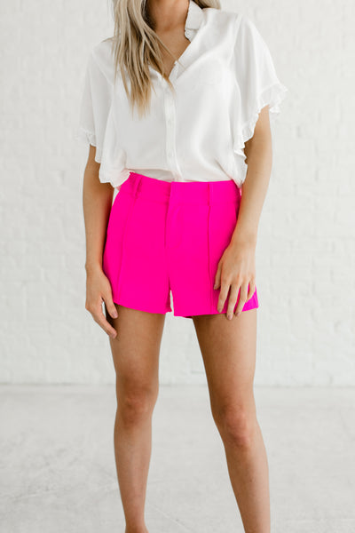 Hot Pink Neon Bold Cute Business Casual Pleated Short Shorts for Girl Boss Fashion