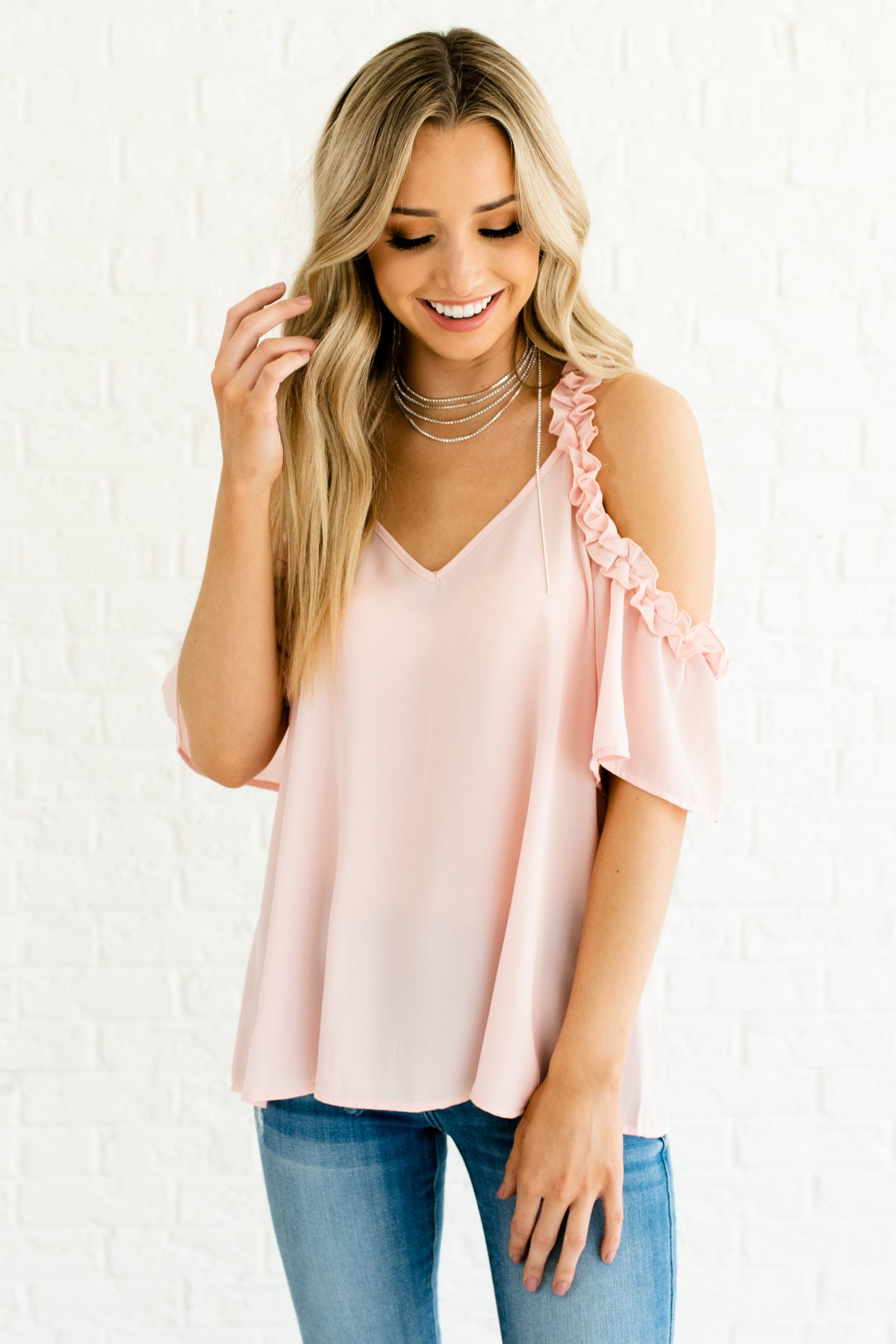 8e4589113baca Pink Ruffled Ruffle Accent Cold Shoulder Blouses and Tops Business Casual  Fashion Womens Boutique
