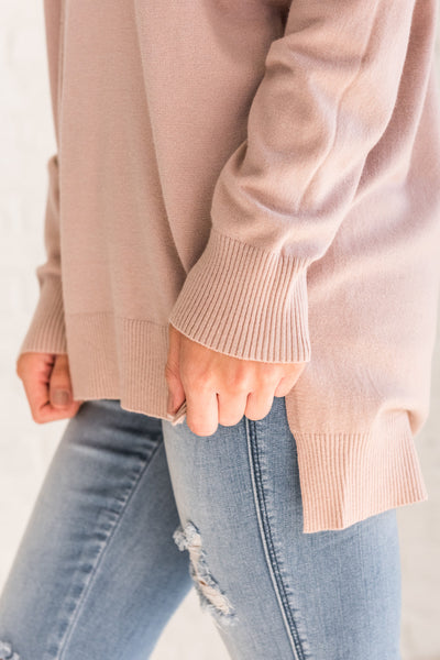 Dusty Blush Rose Pink Pullover Sweaters for Fall and Winter