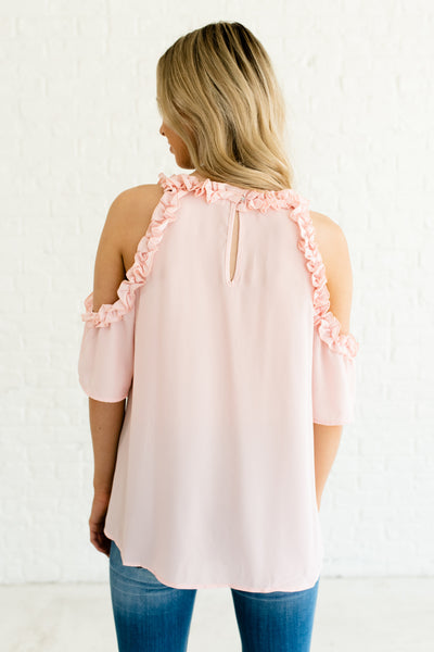 Blush Pink Ruffled Neckline Cold Shoulder Blouses and Tops Affordable Online Boutique