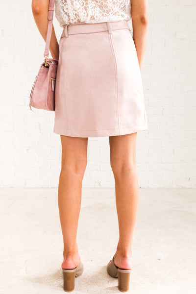 Light Pink Blush Rose Mini Skirt Faux Suede High Quality Material Boutique Fashion