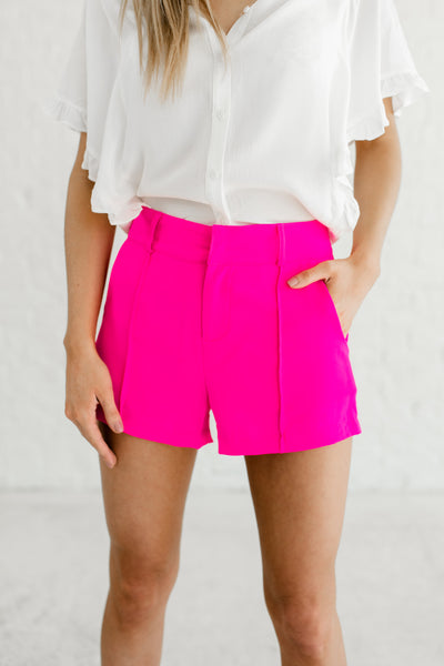 Hot Pink Affordable Online Boutique Business Casual Shorts with Pleating and Pockets
