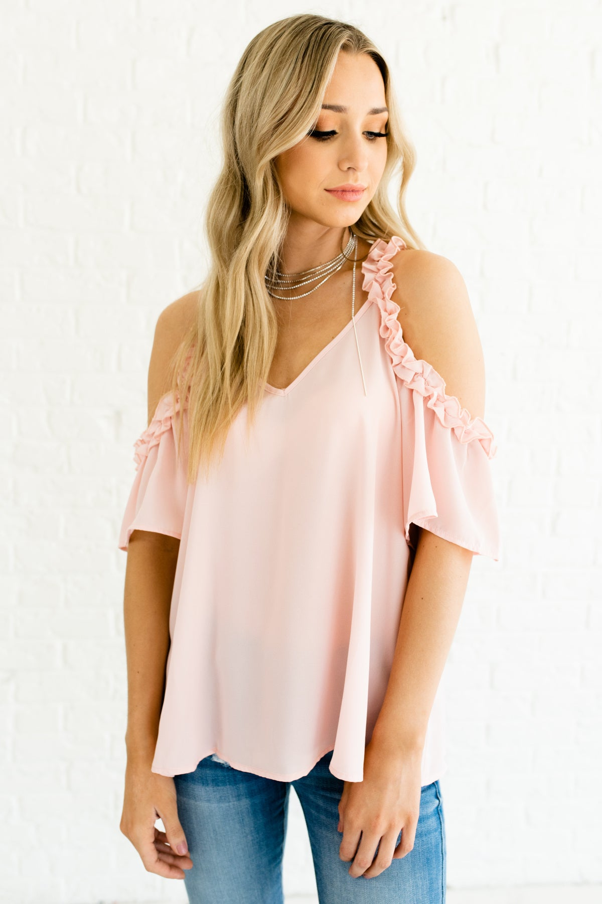 cb917bf404ebf Blush Pink Ruffle Cold Shoulder Tops and Blouses for Valentines Day Womens  Fashion