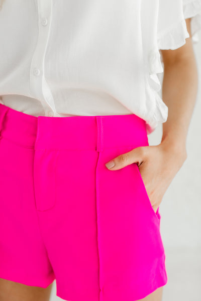 Hot Pink Cute Boutique Pleated Short Shorts Spring Summer Fashion for Women