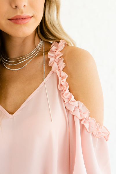 Ballerina Pink Cute Off Cold Shoulder Ruffle Accent Romantic Tops and Blouses for Women