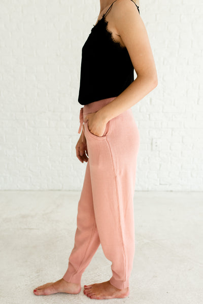 Pink High Quality Warm Cozy Cute Comfy Knitwear Knit Joggers with Pockets
