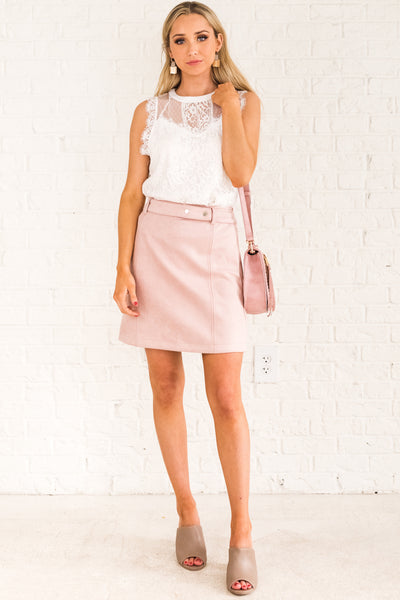 Blush Light Pink Cute Boutique Faux Suede Mini Skirts for Women