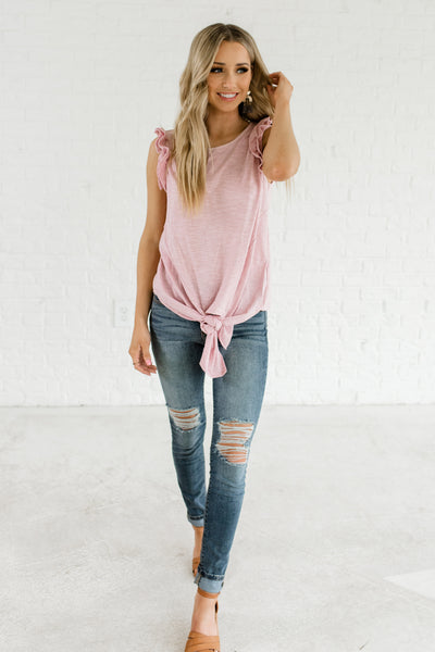 Pink Striped Front Knot Detail Ruffle Sleeve Boutique Tops for Women